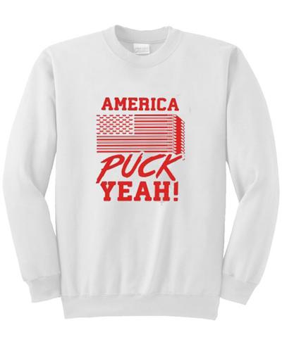 America Puck Yeah Hockey Flag Sweatshirt